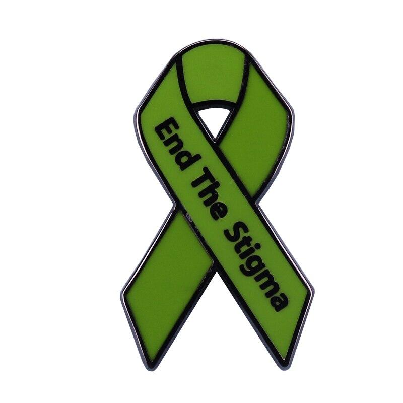 End the Stigma green mental health awareness ribbon enamel