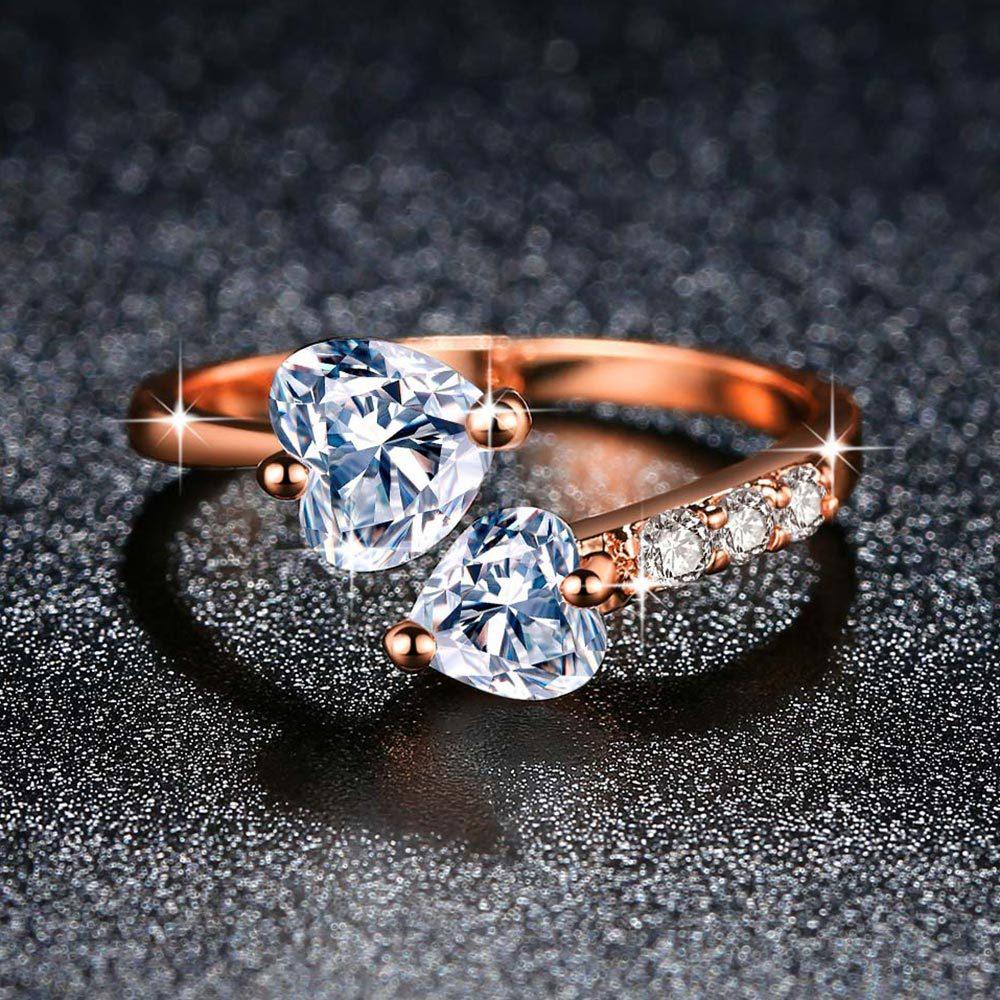 От Double Fair, регулируемые кольца для женщин двойное сердце циркон 3 Цвет открытый палец кольцо предложение для стильного свадебного подарка ю...
