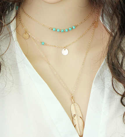 Simple Multi-layer Choker Chain Necklace Round Sequins Beads Tassel Feather Pandant Long Necklaces for Women Collares Jewelry