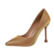 купить 2019 Woman's 10cm High Heel Scarpins Blue Satin Pumps Female Silk Green Wedding Bridal Prom Dress Size 40 Shoes G0104 по цене 1654.33 рублей