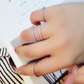 Real S925 Sterling Silver Rings for Women Simple Classic Wedding Ring with Stamp Exquisite Cz Female Wholesale Jewelry 2