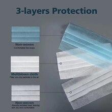 50PCS Disposable Protective Mask 3 Layers Dustproof Facial Protective Cover Masks Maldehyde Prevent Bacteria Masks