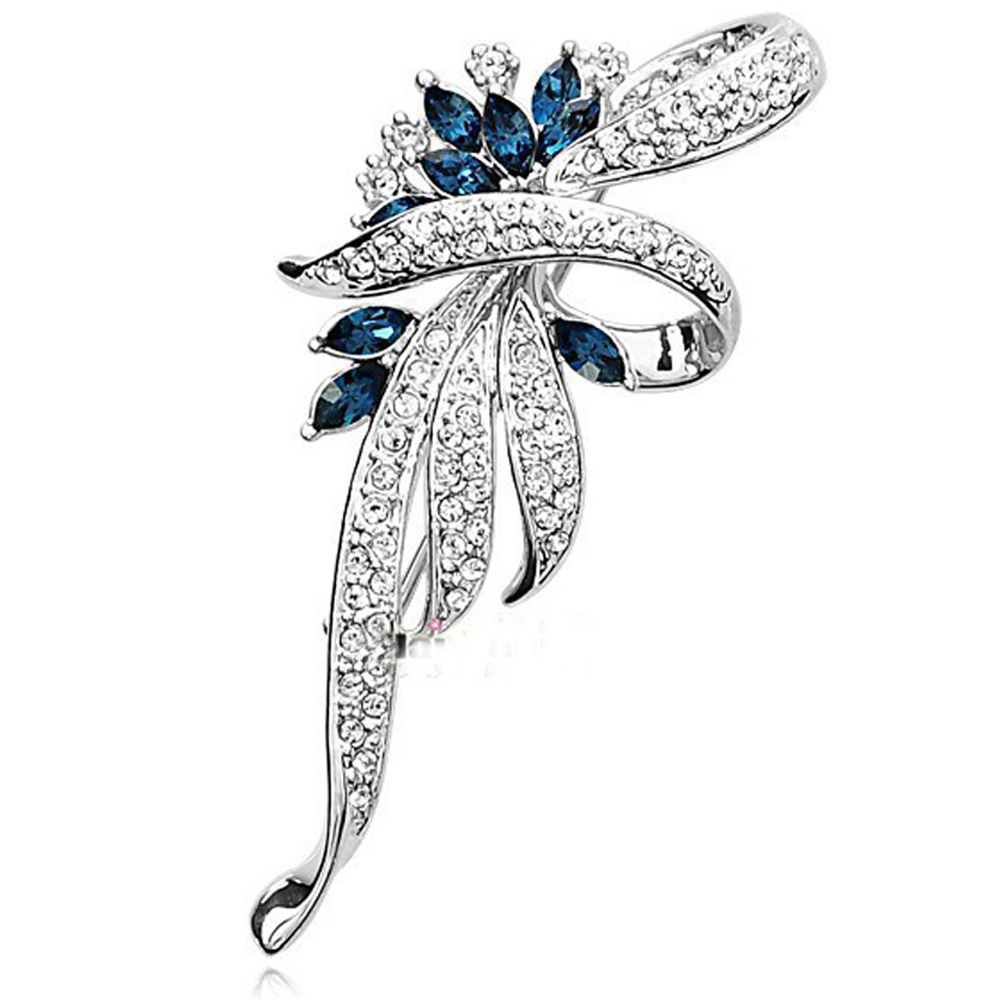 Crystal Flower Brooch  Pin Fashion  Rhinestone Jewelry Women Wedding  Pins Large Brooches For Women