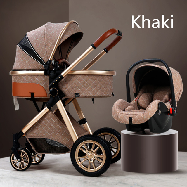 Carrinho de bebê de luxo 3 em 1, carrinho de bebê dobrável de couro com moldura de alumínio da paisagem de alta qualidade com presentes para carrinho de bebê 6