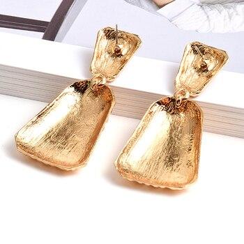 Geometric Gold Metal Drop Earrings  2