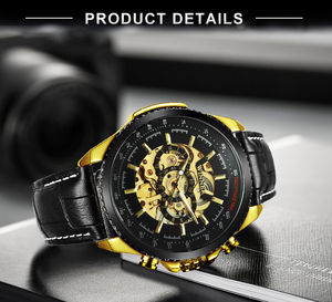 Image 3 - WINNER Official Automatic Watch Men Military Skeleton Mechanical Watches Genuine Leather Strap Luxury Dress Mens Wristwatches