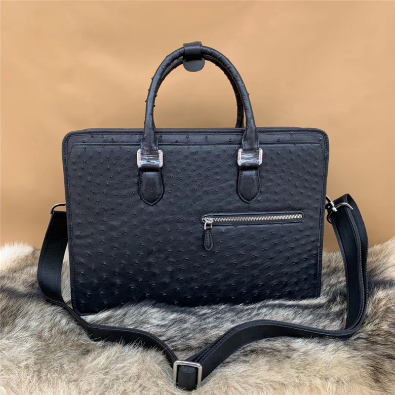 Fashion Designer Authentic Real Ostrich Skin Businessmen Working Briefcase Genuine Leather ZIP Closure Male Large Laptop Handbag