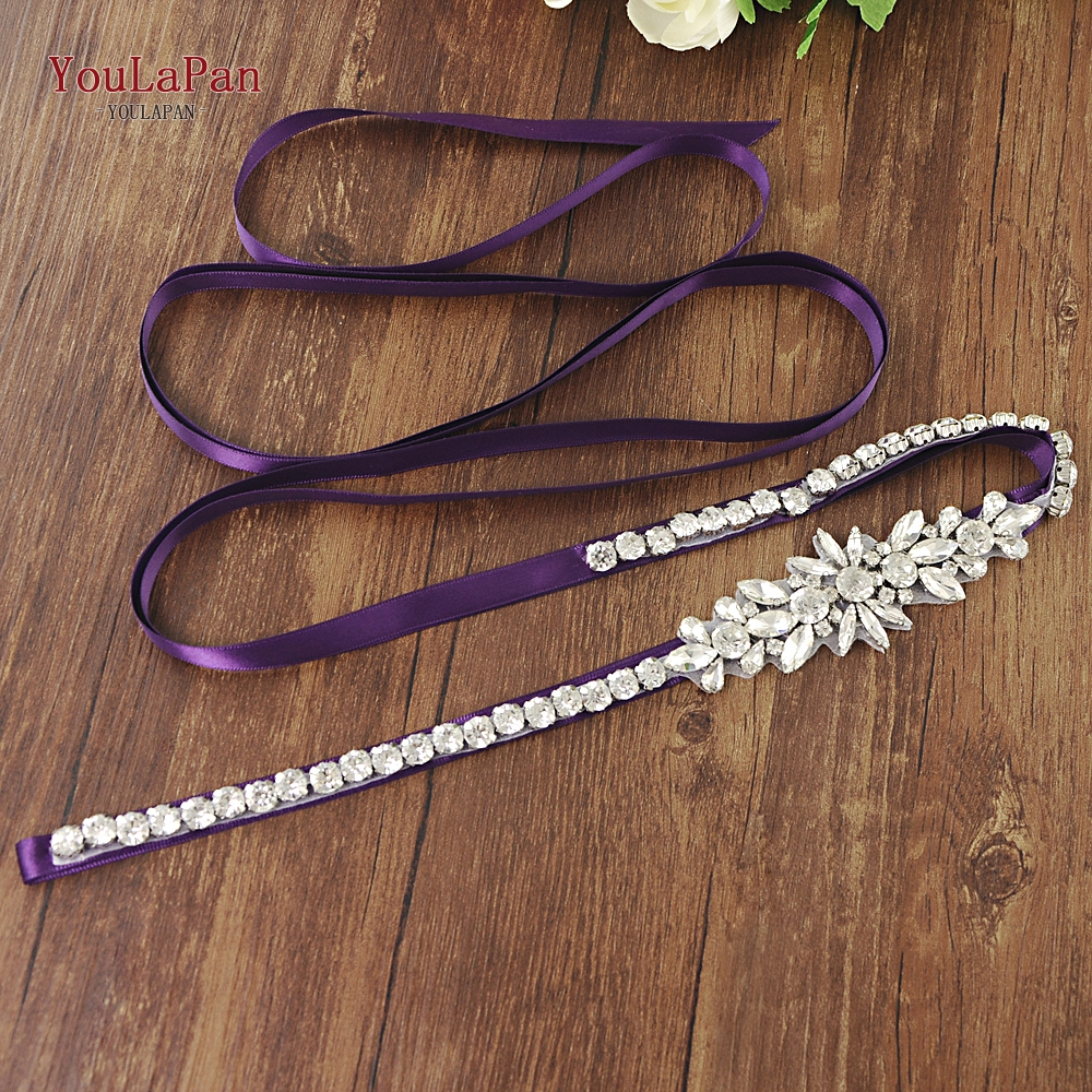 YouLaPan S166 Silver Rhinestone Bridal Belt Wedding Bridal Belt For Women New Design Bridal Belt Gorgeous Shiny Glittered Belt