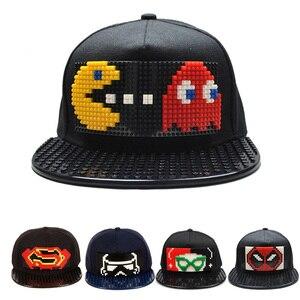 New Puzzle Games Blocks DIY legos Baseball Hat Bob Marley Pixels Superhero Dad Hats Snapback Cap for Men and Women Detachable(China)