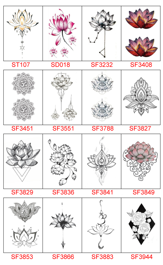 Waterproof Temporary Tattoo Stickers Cute Buddha Lotus Flowers Design Body Art Man Woman Makeup Tools