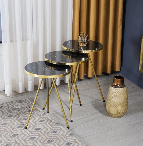 Zigon Coffee Table 3 pcs Gold Metal Leg 2 Color Options