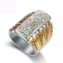 Three color plated finger ring fashion crystal jewelry titanium steel rings for women free shipping недорого