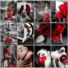 HUACAN bricolage peinture de diamant pour femmes, broderie complète de strass carrés, en noir et rouge, mosaïque de roses, vente d'art mural
