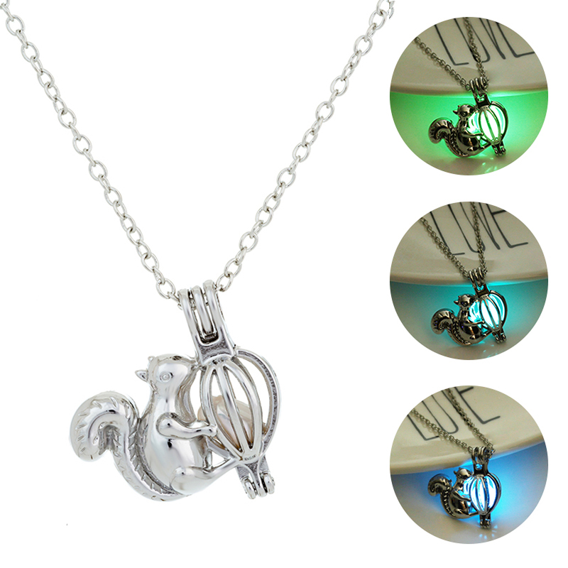 Luminous Animal Squirrel Sliver Chain Necklace Women Glowing Pendant Necklace Glow in the Dark Stone Jewellery Gifts 2019