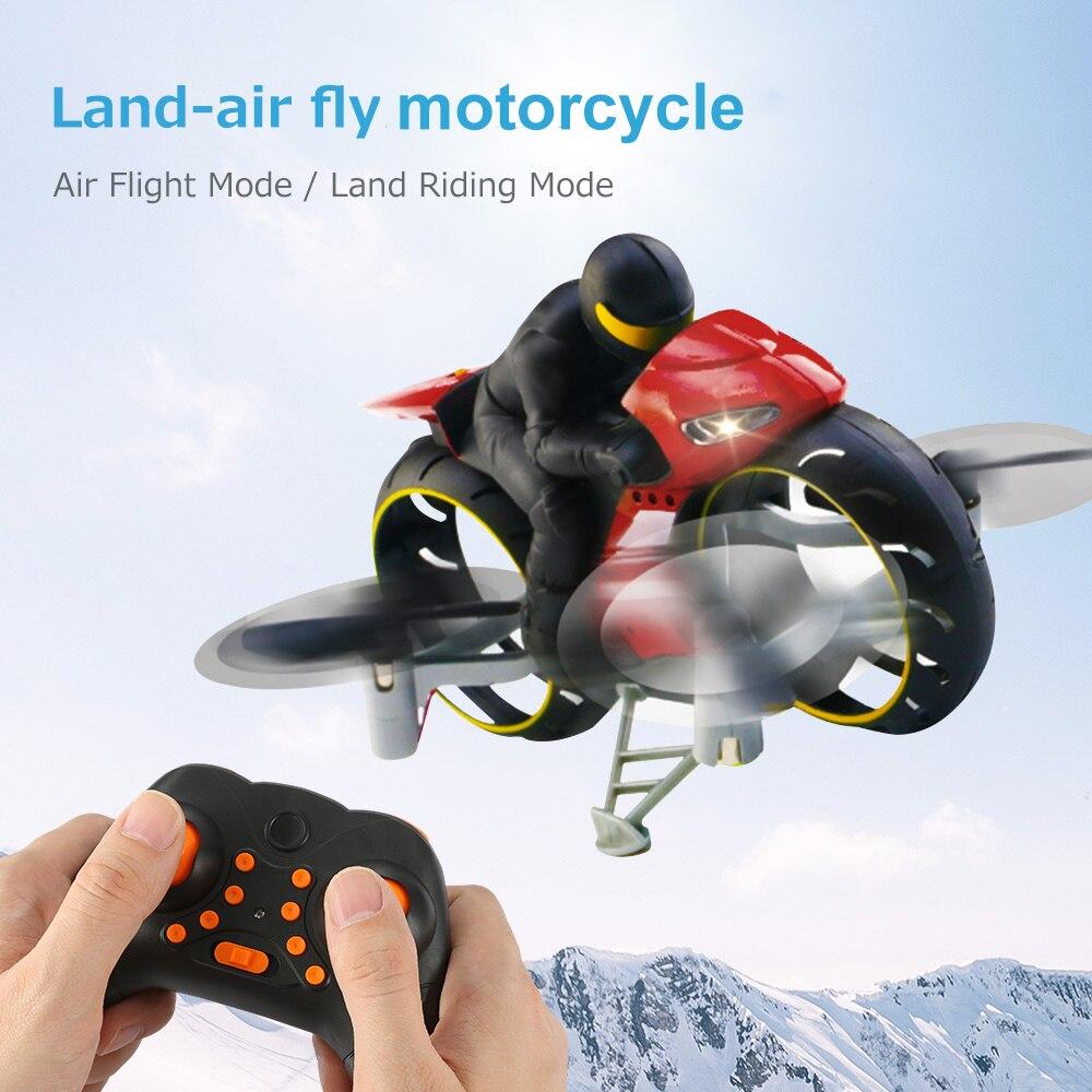 Oyuncaklar ve Hobi Ürünleri'ten RC Motosikletler'de 2.4G 2 In 1 Land hava sinek motosiklet başsız modu uzaktan kumanda dört eksenli Drone yarış dublör oyuncak motosikletler çocuk hediye için title=
