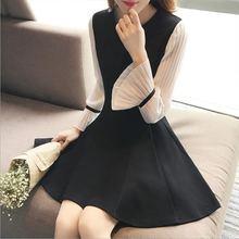 Модное женское мини черное платье с круглым вырезом повседневное