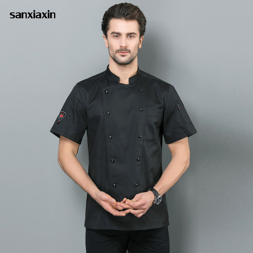 Food Service Unisex Chef Jacket Short Sleeved Restaurant Uniforms Double-breasted Hotel Kitchen Work Shirts Work Clothes Men New