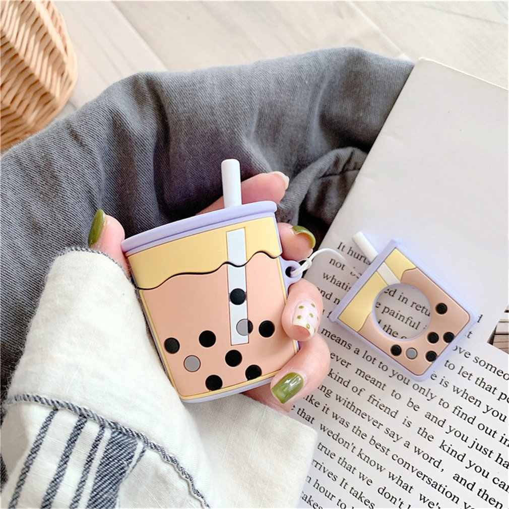 New Three-Dimensional Pearl Milk Tea Case For Airpods Accessories Wireless Earphone Set Female Anti-Fall Silicone Case