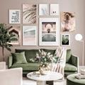 Марокканский дверной проем природа тропический лист абстрактный розовый небо плакат Холст Картина Настенная Художественная печать картин...