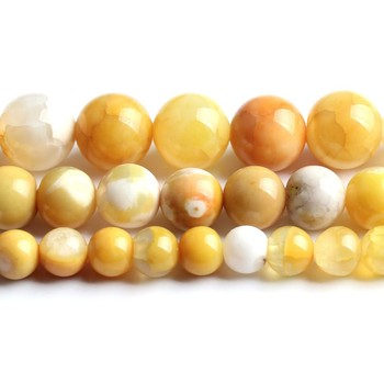 6/8/10mm Natural Light Yellow Ice Craked Agates Stone Beads Round for Jewellery Making Bracelet Necklace 15/Strand image