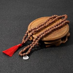 Натуральная рудракша узлом 108 бусина Мала ожерелье медитации Йога декларации благословение молитва красный украшения с подвесками кисточками|Ожерелья с подвеской|   | АлиЭкспресс