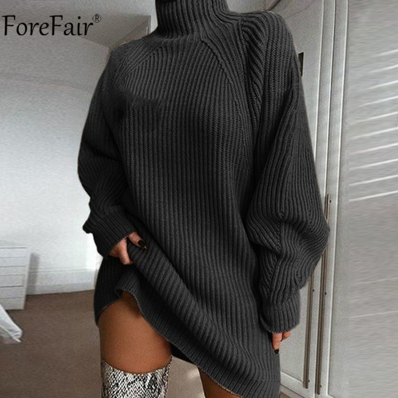 Image 2 - Forefair Turtleneck Long Sleeve Sweater Dress Women Autumn Winter Loose Tunic Knitted Casual Pink Gray Clothes Solid Dresses-in Dresses from Women's Clothing