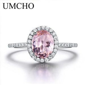 Image 3 - UMCHO 925 Sterling Silver Ring Oval Classic Pink Morganite Rings For Women Engagement Gemstone Wedding Band Fine Jewelry Gift