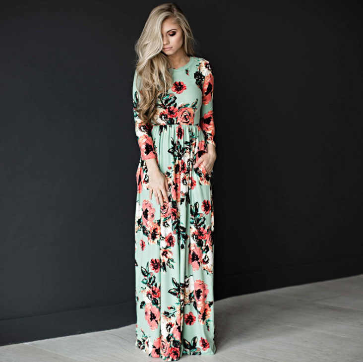 Elegante Lente Herfst Vrouwen Jurk 2020 Casual Bohmia Bloemenprint Maxi Jurken Fashion Hollow Out Tuniek Vestidos Jurk Plus Size