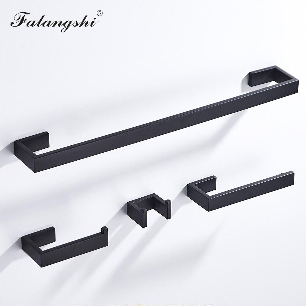 304 Stainless Steel Bathroom Hardware Set Black Robe Hooks Toilet Paper Holder Towel Rail Bar Accessories For Bathroom WB8856