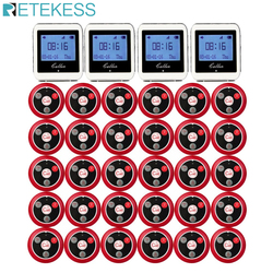 Retekess Wireless Pager Restaurant Calling Paging System 4pcs Watch Wrist Receiver + 30pcs Call Transmitter Button Pager T117