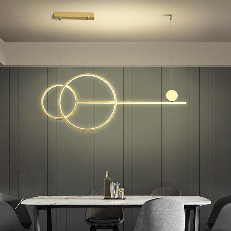 LED Modern Simple Chandelier Restaurant Bar Black White Gold Long Pendant Lamp Dining Room Coffee Shop Round Rings Hanging Light