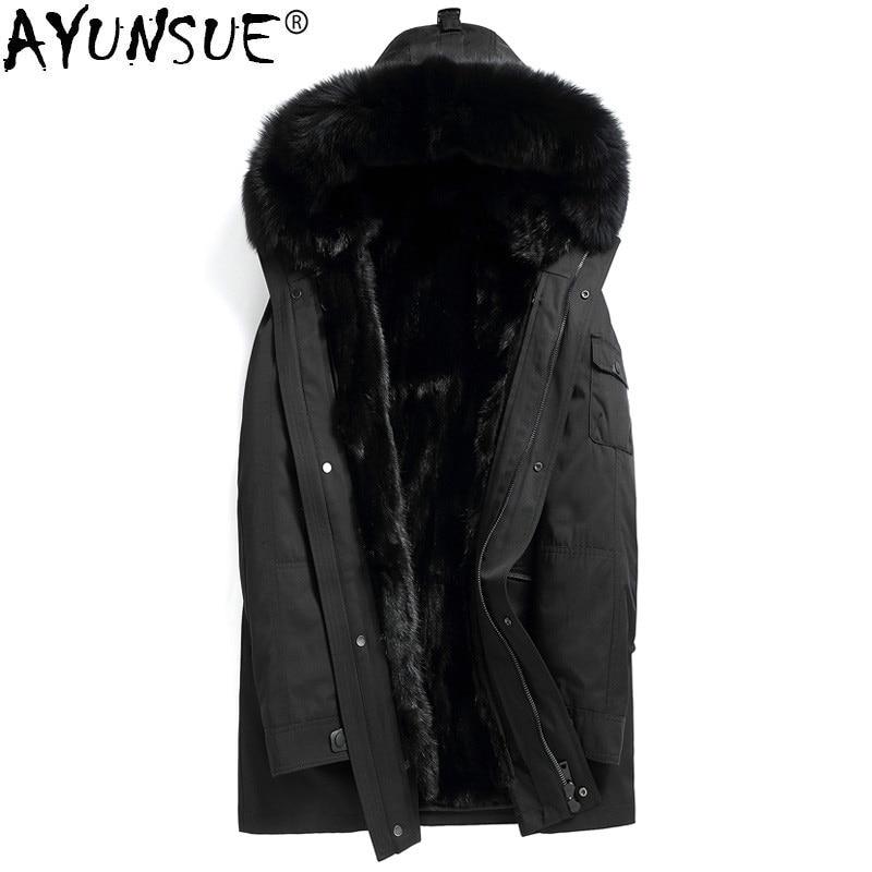 AYUNSUE Parka Real Fur Coat Men Long Winter Jacket Mink Fur Liner Fox Fur Collar Mens Mink Jackets Coats Parkas Hombre 2019 4245