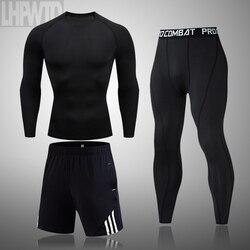 2020 Men's Thermal Underwear Suit MMA Rashguard Suit Fitness Sports Leggings Suit Solid color Men Comression Clothes Suit Men