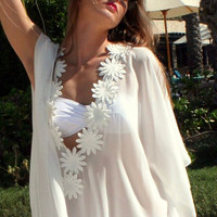 Summer Women Floral Loose Shawl Bikini Cover up Long Sleeve Lace up Long Beach Dresses