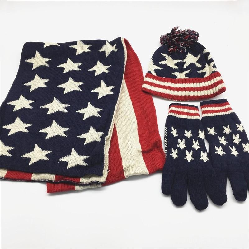 Women Solid Flag Print Scarf Hat Glove Set Self Pompom Hat Girls Printed Beanie Mitten Sets UK Flag US Flag Navy Winter Set