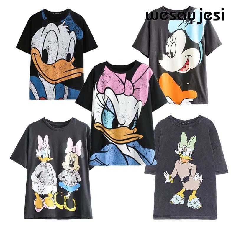 T shirt Women 2020 Summer Harajuku 90s Vintage Cartoon Duck Print Womens T-Shirt Cotton Short Sleeve Female Top Tshirt Plus Size