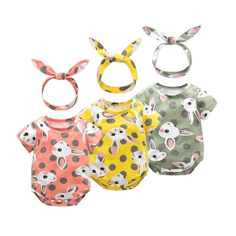 Summer spring cotton baby cute headband romper kid jumpsuit girl boy fashion clothing 3 color rabbit