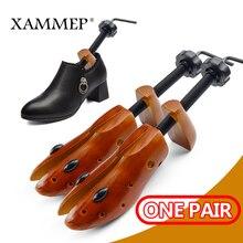 شجرة الأحذية 1 زوج خشبية للرجال والنساء الأحذية قابل للتعديل المتوسع الأحذية العرض والارتفاع نقالة الحذاء المشكل رف Xammep