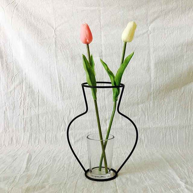 Creative Art Iron Vase Planter Rack Home Decoration Accessories Modern Flower Pots Shelf Soilless Organizer Dried Flower Vases 6