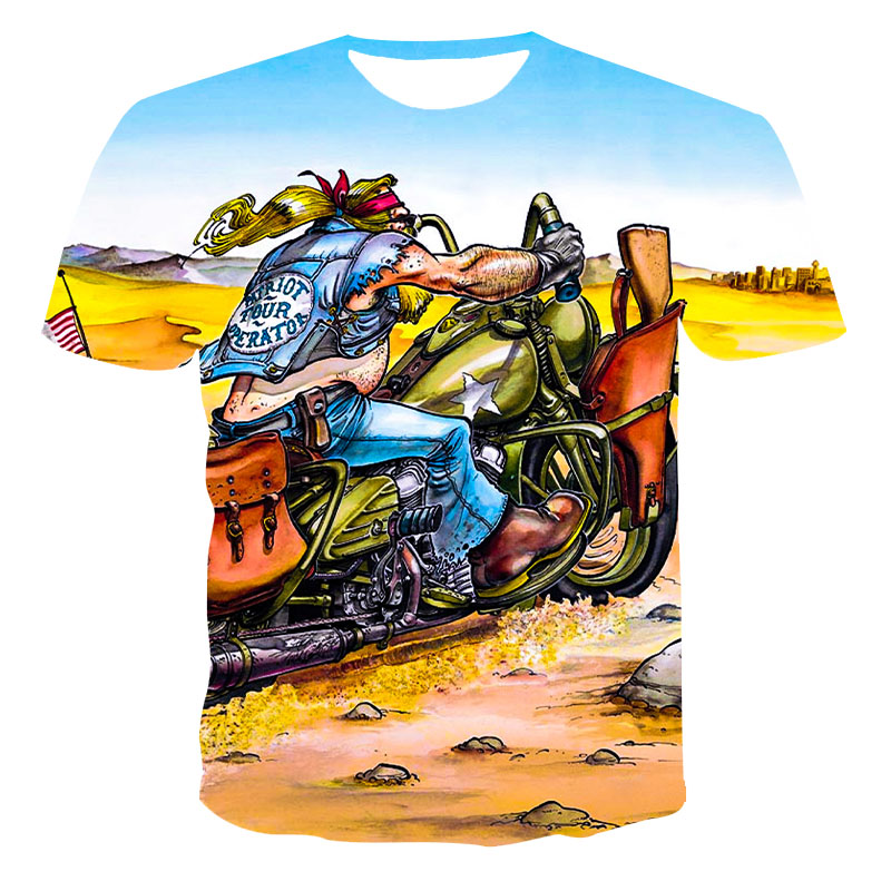 Summer new trend T-shirt, anime motorcycle pattern top, street fashion sports apparel hot sale 3D color short sleeves