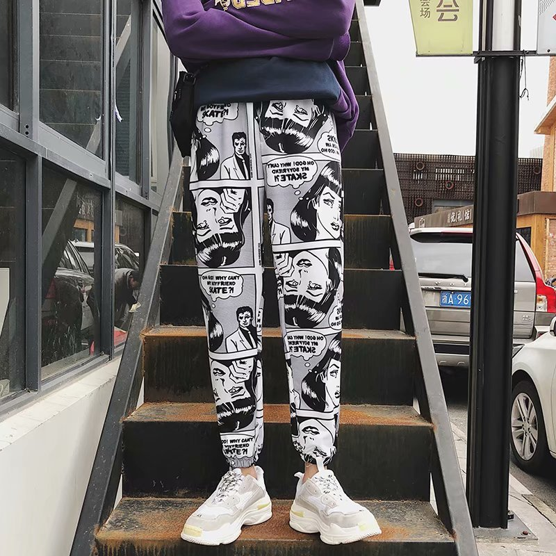 Spring Summer Casual Pants Men Slim Fit Trend Korean-style Skinny Pants New Style Trousers Sports Pants Men's Cartoon Pants