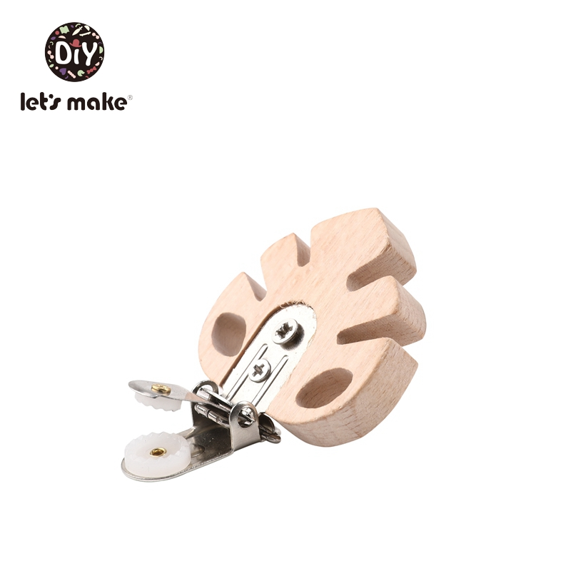 Let's Make 10pc Beech Wooden Baby Pacifier Clip Cartoon Plant Leaves BPA Free Pacifier Clip Holder Baby Wood Teether Baby Goods (Leaves)