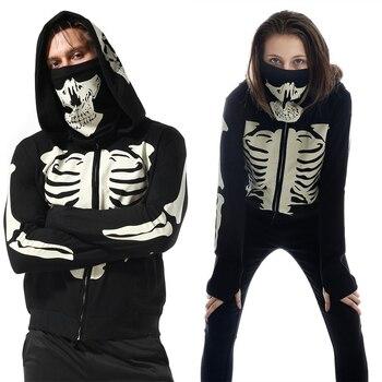 3D Print Skeleton Couples Hoodies Halloween Women Men Tracksuit Ninja Harajuku Black Hooded Stranger Things Skull Splicing Mask