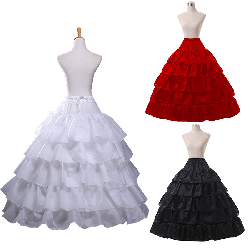 2019 Fashion Wedding Petticoat 4 Hoop Skirt 5 Layers Ruffles Elastic Waist Red Black White Women Underskirt For Ball Gowns Jupon