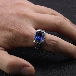 Image 5 - Real Pure 925 Sterling Silver Rings For Men Blue Natural Crystal Stone Mens Ring Vintage Hollow Engraved Flower Fine Jewelry