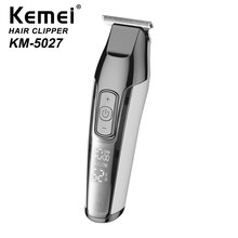 KEMEI Professional Silver Mens Multi-function Rechargeable Hair Clipper USB Can Use Carbon Steel Cutter Head KM-5027