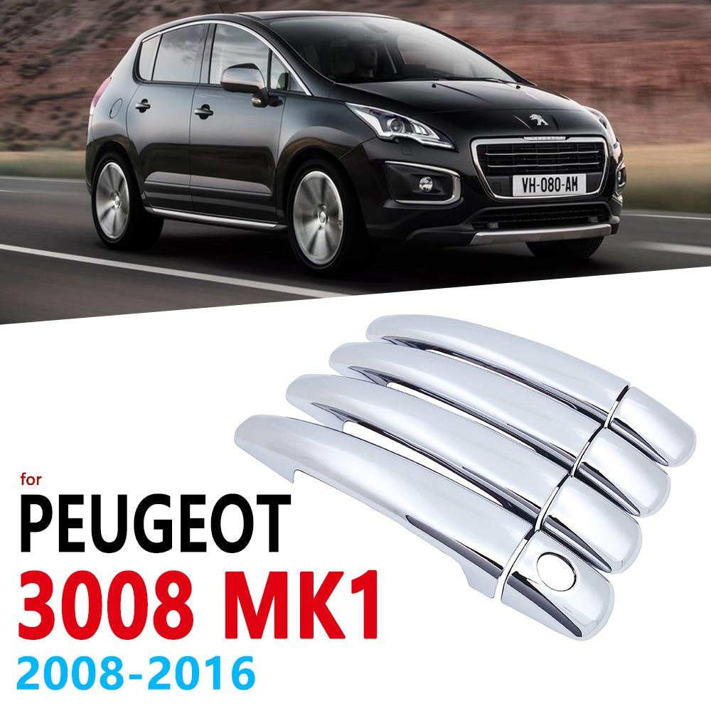 Хромированная накладка на ручки для Peugeot 3008 MK1 2008 ~ 2016, автомобильные аксессуары, стикеры 2009 2010 2011 2012 2013 2014 2015
