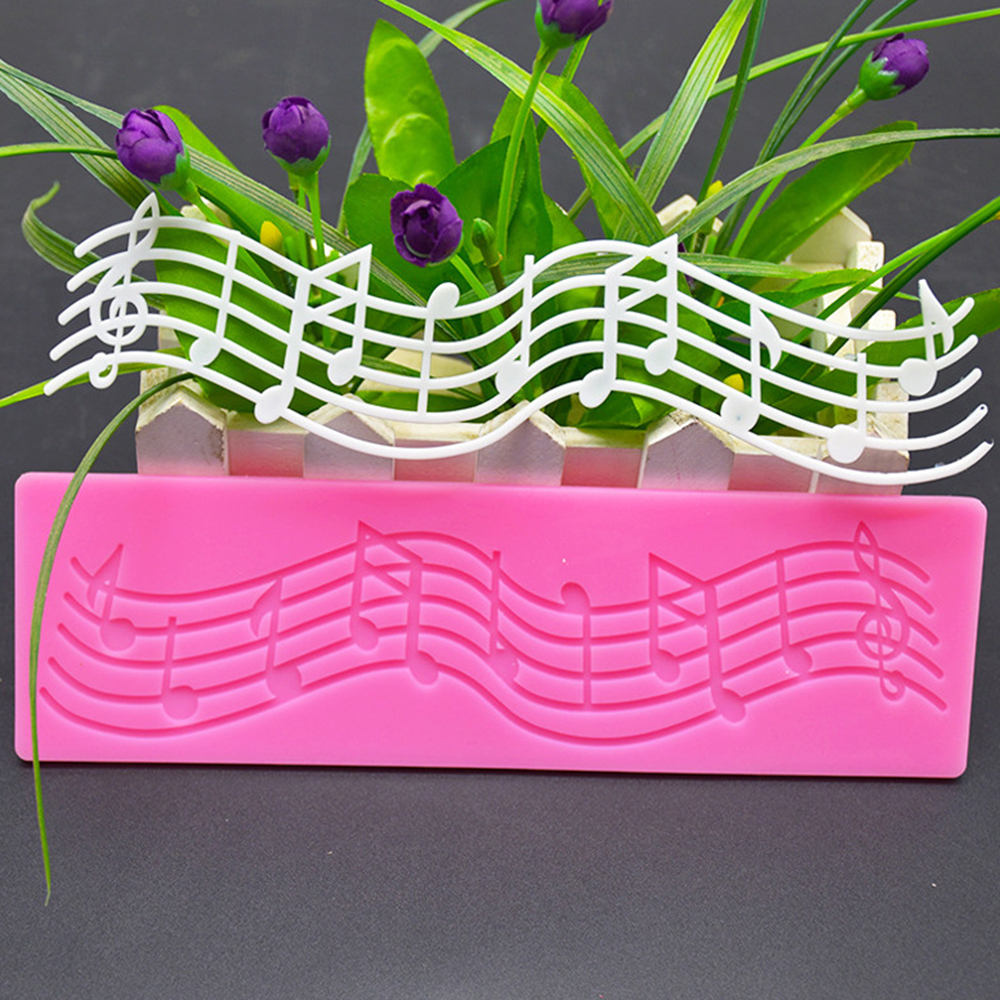 Music Lace Silicone Mold Staff Sheet Cake Fondant Chocolate Decoration Mold Epoxy Crystal Staff Home Handmade Crafts Ornaments