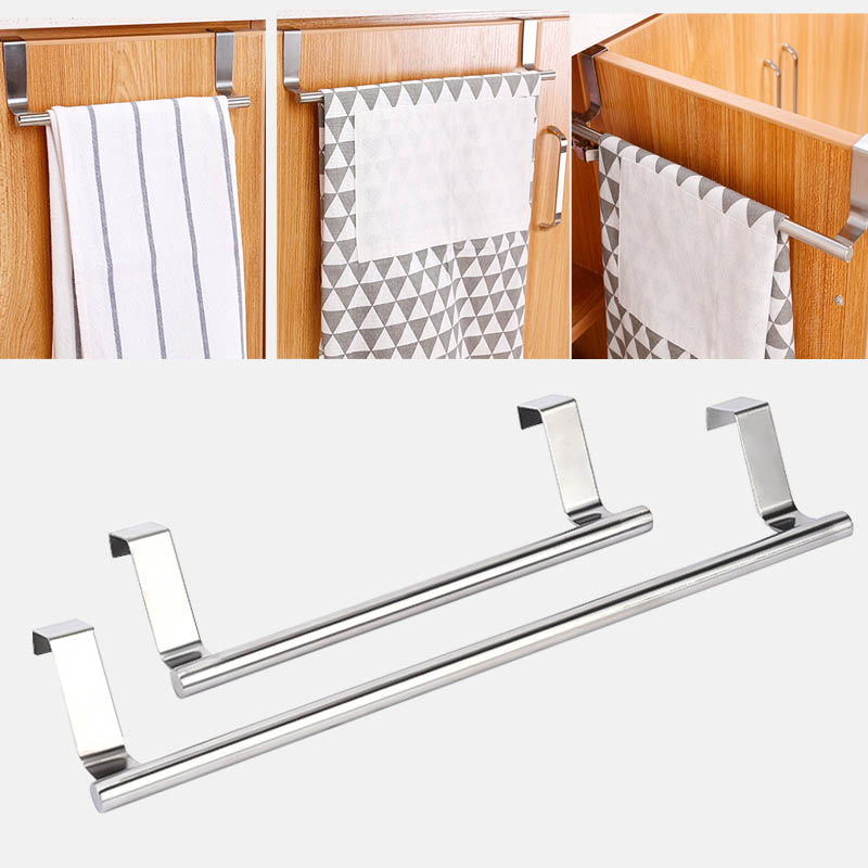 2 Size Towel Racks Over Door Towel Rack Bar Hanging Holder Bathroom Kitchen Cabinet Shelf Rack Home Organizer Long Wall Hook