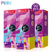 Mio Condom 6in1 Ribbed Dotted Natural Latex Thread Lubricant Spiral Spike Condoms Penis Sleeve Sex Toys For Men Products